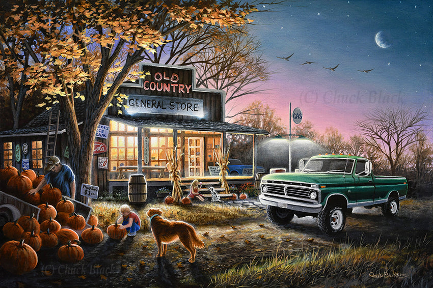 "Country Store Landscape Art Print - ""The Harvest Moon"""