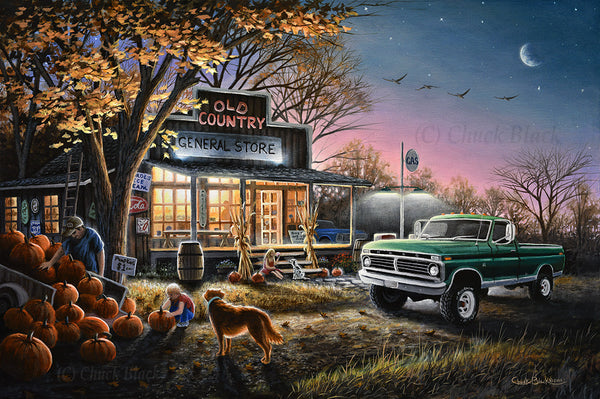 "Country Store Landscape Canvas Print - ""The Harvest Moon"""