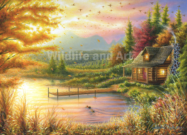 "Mountain Cabin Limited Edition Print - ""High-country Cinnamon"" - art print - original art - Wildlife and Art by Chuck Black"