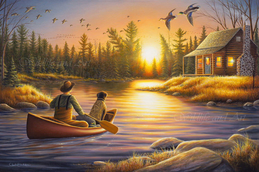 "Cabin Nostalgia Canvas Art Print - ""Best Friends Forever"" - art print - original art - Wildlife and Art by Chuck Black"