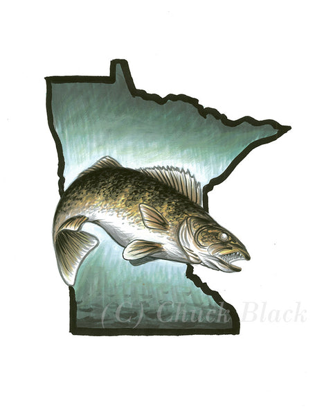 "Minnesota Walleye Limited Edition Print - ""The Big One"" - art print - original art - Wildlife and Art by Chuck Black"