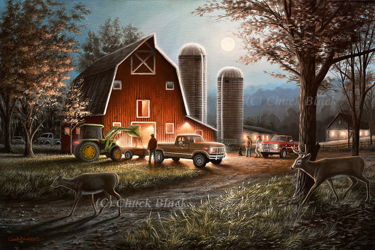 "Red Barn Farmyard Art Print - ""October Nights"""