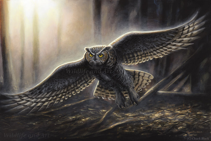 "Original Great-horned Owl Wildlife Painting - ""Out Of The Darkness"" 18x12 - art print - original art - Wildlife and Art by Chuck Black"