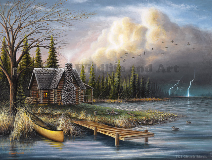 "Rustic Cabin Canvas Art Print - ""The Perfect Storm"" - art print - original art - Wildlife and Art by Chuck Black"