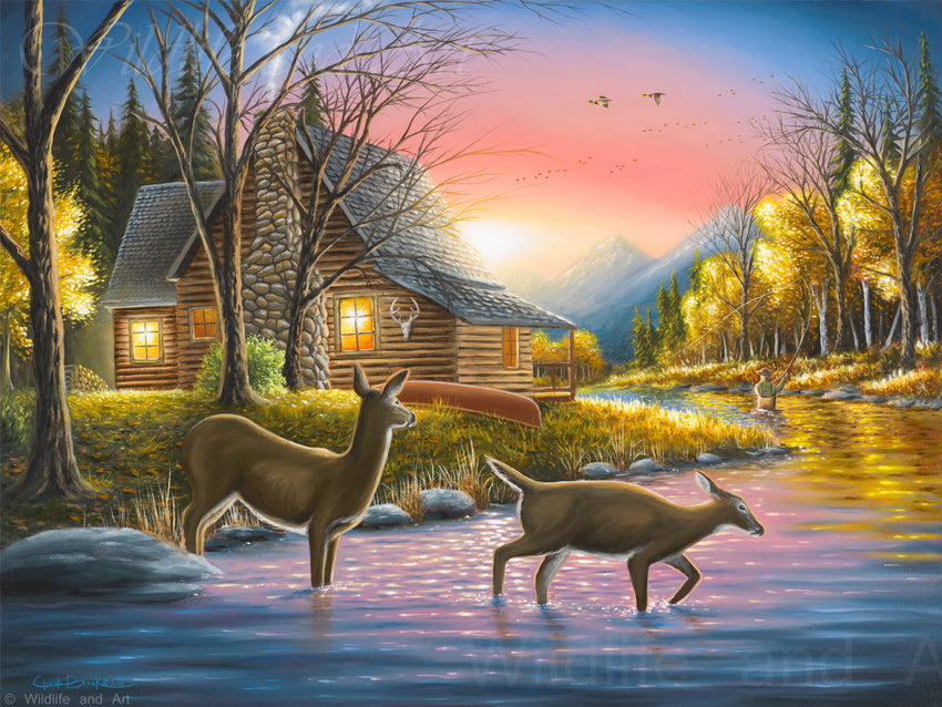 "Cabin Nostalgia Canvas Art Print - ""River's Crossing"" - art print - original art - Wildlife and Art by Chuck Black"