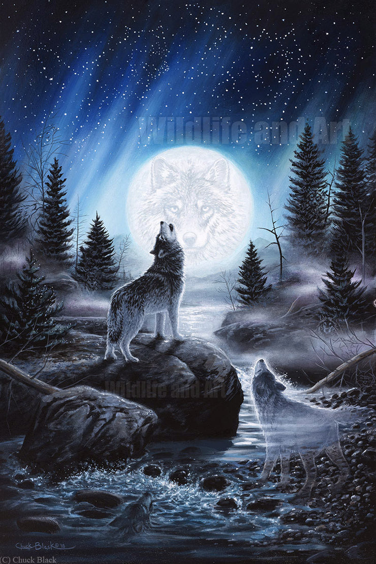 "Wolf Fantasy Canvas Art Print - ""Spirits of the Wild"" - art print - original art - Wildlife and Art by Chuck Black"
