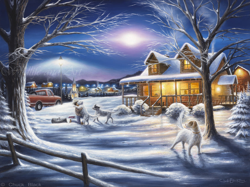 "Cabin Nostalgia Canvas Art Print - ""Welcome Home"" - art print - original art - Wildlife and Art by Chuck Black"