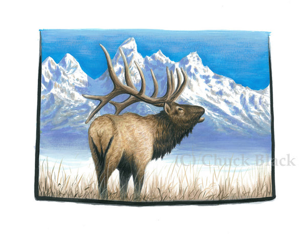 "Wyoming Elk Limited Edition Print - ""Grand Tetons"""