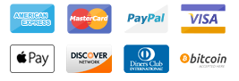 Visa, Mastercard, AMEX, Apple Pay, Bitcoin, Discover, Diners Club