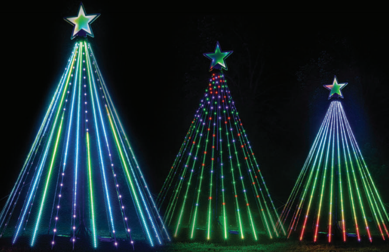 RGB Mega Trees With Modern Star Topper