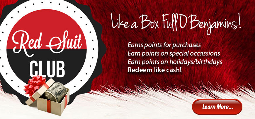 learn more about our loyalty program, the Red Suit Club