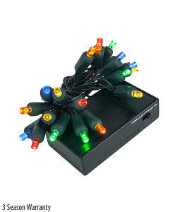 5mm Wide Angle LED Battery Operated Christmas Lights – 20 Bulbs, 4″ Spacing – Multicolor