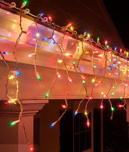 Multicolor Mini Icicle Lights on White Wire