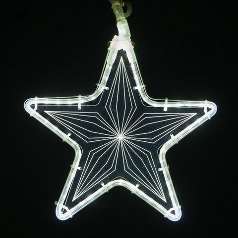 "10"" White Star Light - Etched Geometric Design"