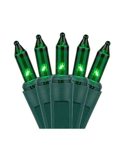 "100 Green Mini Lights, Green Wire, 2.5"" Spacing"