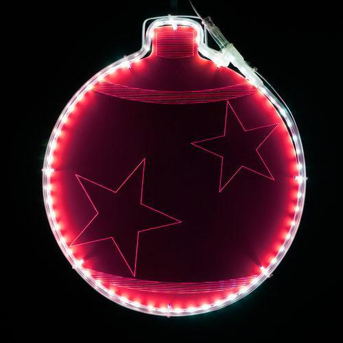 "13"" Electric Hot Pink Lit Ornament - Etched Stars Design"