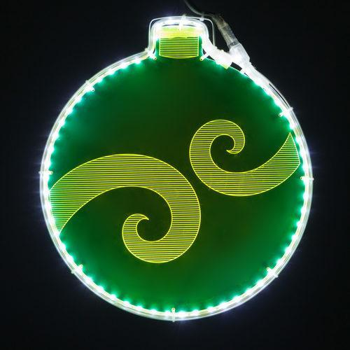 "13"" Green Lit Ornament - Etched Swirl Design"