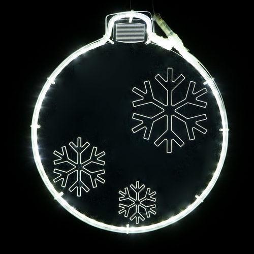 "13"" White Lit Ornament - Etched Snowflake Design"