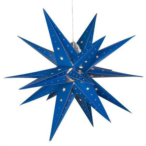 "17"" Fold Flat LED Moravian Star - Indoor/Outdoor - Blue"