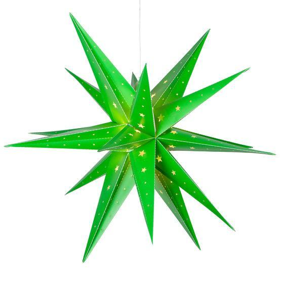 "17"" Fold Flat LED Moravian Star - Indoor/Outdoor - Green"