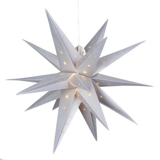 "17"" Fold Flat LED Moravian Star - Indoor/Outdoor - Silver"