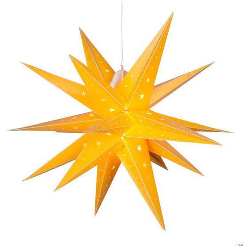 "17"" Fold Flat LED Moravian Star - Indoor/Outdoor - Yellow"