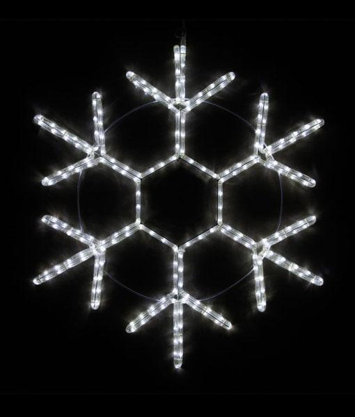 "18 Point Snowflake - 20"" Cool White LED Rope Light Snowflake"