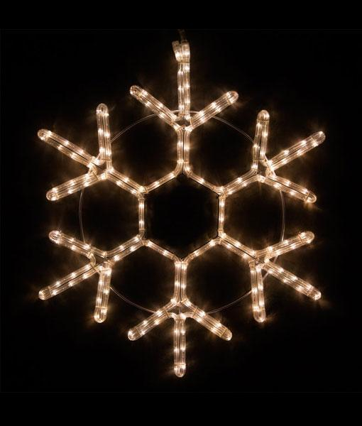 "18 Point Snowflake - 20"" Warm White LED Rope Light Snowflake"