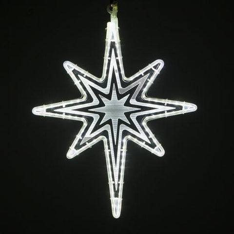 "18"" White Bethlehem Star - Etched Starburst Design"