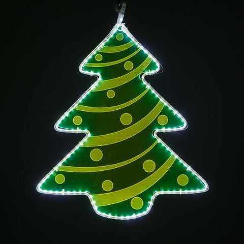 "22"" Green Lit Tree - Etched Decorative Design"
