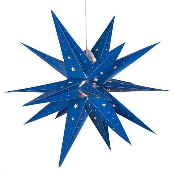 "24"" Fold Flat LED Moravian Star - Indoor/Outdoor - Blue"