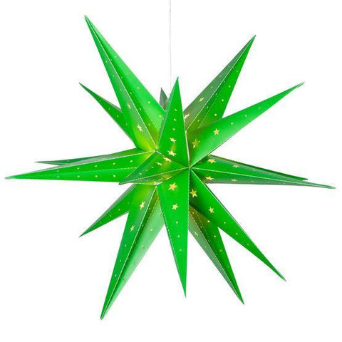 "24"" Fold Flat LED Moravian Star - Indoor/Outdoor - Green"
