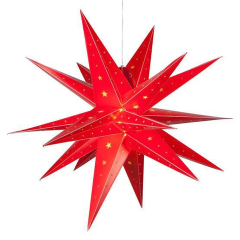 "24"" Fold Flat LED Moravian Star - Indoor/Outdoor - Red"