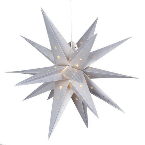 "24"" Fold Flat LED Moravian Star - Indoor/Outdoor - Silver"