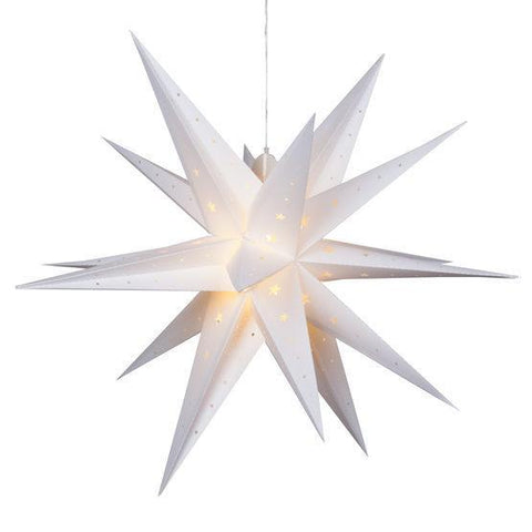 "24"" Fold Flat LED Moravian Star - Indoor/Outdoor - White"