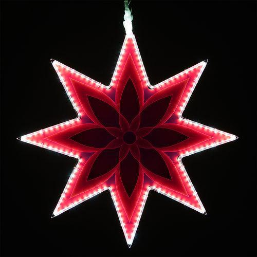 "25"" Electric Hot Pink Lit 8 Point Star - Etched Flower Design"