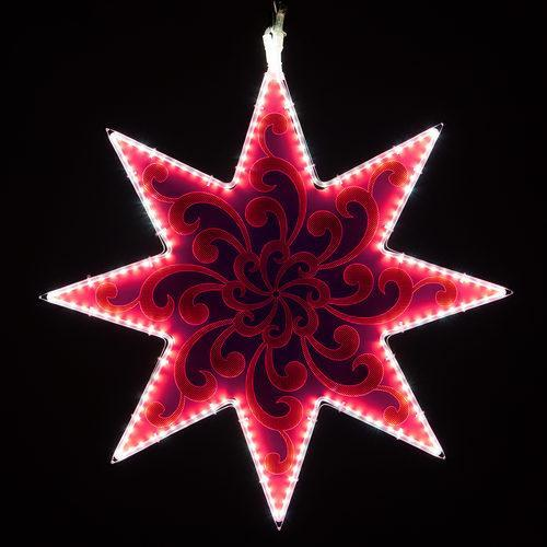 "25"" Electric Hot Pink Lit 8 Point Star - Etched Swirl Filigree Design"
