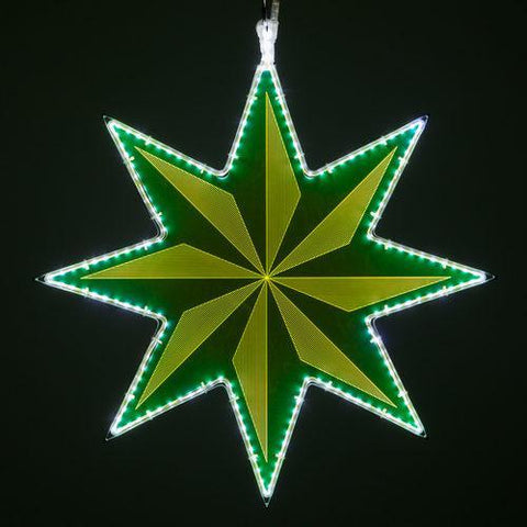 "25"" Green Lit 8 Point Star - Etched Pinwheel Design"