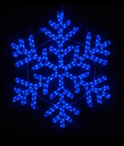 "42 Point Snowflake - 24"" Blue LED Rope Light Snowflake"