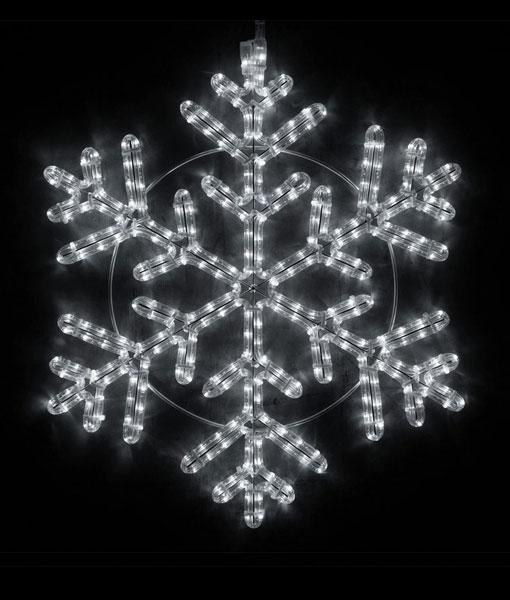 "42 Point Snowflake - 24"" Cool White LED Rope Light Snowflake"
