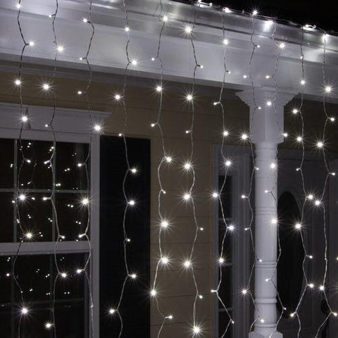 5mm Cool White LED Light Curtain - 6' x 6' - White Wire