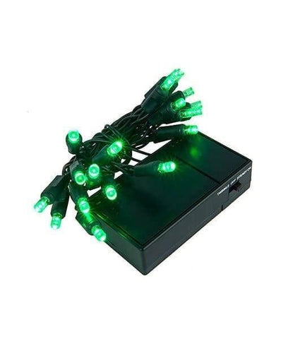 "5mm Green LED Battery Operated Christmas Lights - 20 Bulbs, 4"" Spacing"