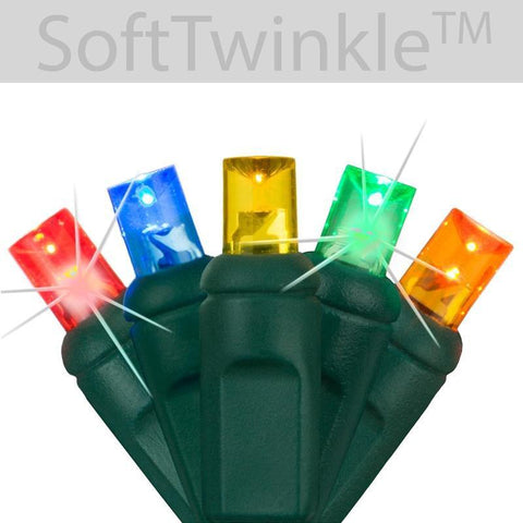 "5mm Multicolor Soft Twinkle Slow Fading LED Christmas Lights - 50 Bulbs - 4"" Spacing"