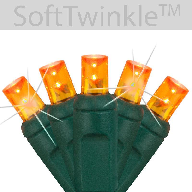 "5mm Orange Soft Twinkle Slow Fading LED Christmas Lights - 50 Bulbs - 4"" Spacing"