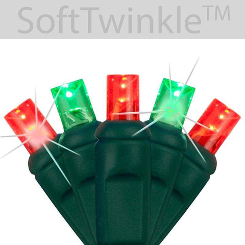 "5mm Red/Green Soft Twinkle Slow Fading LED Christmas Lights - 50 Bulbs - 4"" Spacing"