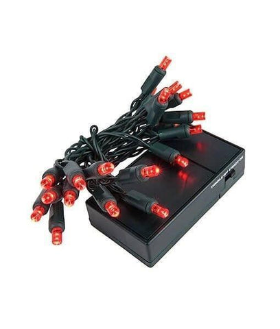 "5mm Red LED Battery Operated Christmas Lights - 20 Bulbs, 4"" Spacing"