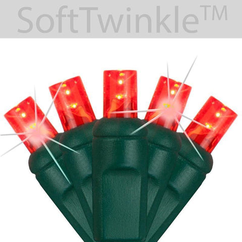 "5mm Red Soft Twinkle Slow Fading LED Christmas Lights - 50 Bulbs - 4"" Spacing"