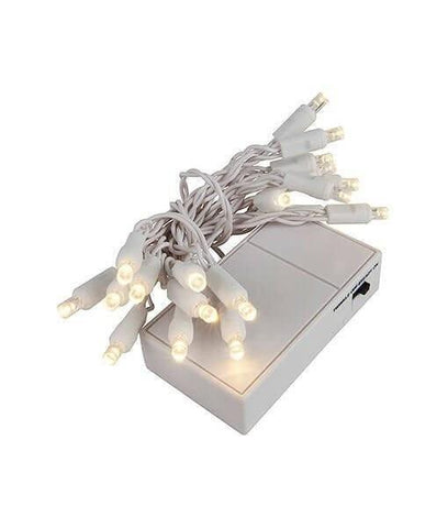 "5mm Warm White LED Battery Operated Christmas Lights - 20 Bulbs, 4"" Spacing, White Wire"