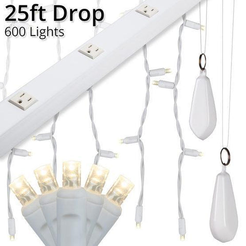 "5mm Warm White LED Light Curtain KIT - 25' Length - 600 Bulbs - 6"" Vertical Spacing - White Wire"