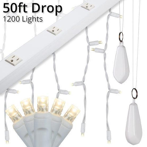 "5mm Warm White LED Light Curtain KIT - 50' Length - 1200 Bulbs - 6"" Vertical Spacing - White Wire"